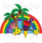 parrot in palm trees clip art